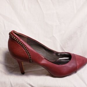 Burgundy colored Leather pumps